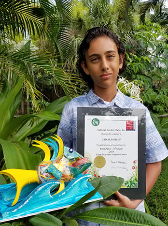 "Jad Alsaghah, 6th grader from Sunrise Middle School, has won a National Garden Club Award for his sculpture of a ""Trigger Fish."""